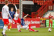 Sonny Blu Lo-Everton (Watford) fouled by Jan Bieganski  during the U17 European Championships match between Scotland and Poland at Firhill Stadium, Maryhill, Scotland on 26 March 2019.