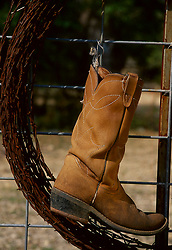 Brown leather cowboy boot hanging on a wire fence