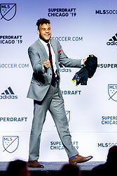 January 11, 2019 - Chicago, IL, U.S. - CHICAGO, IL - JANUARY 11: J.J. Williams is selected as the number eighteen overall pick to Columbus Crew in the first round of the MLS SuperDraft on January 11, 2019, at McCormick Place in Chicago, IL. (Photo by Patrick Gorski/Icon Sportswire) (Credit Image: © Patrick Gorski/Icon SMI via ZUMA Press)