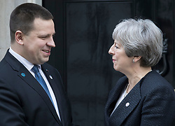 © Licensed to London News Pictures. 30/01/2018. London, UK. Prime Minister Theresa May says goodbye to Estonian Prime Minister Jüri Ratas as he leaves Downing Street. Later Mrs May will travel to China on a three day trade and diplomatic visit.  Photo credit: Peter Macdiarmid/LNP