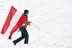 13.03.2010, Goudyberg Herren, Garmisch Partenkirchen, GER, FIS Worldcup Alpin Ski, Garmisch, Men Slalom, im Bild Feature, einzelner österreichischer Fan mit Nationalflagge, EXPA Pictures © 2010, PhotoCredit: EXPA/ J. Groder