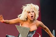 Lady Gaga performs at Glastonbury festival.