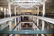 Interior view of the atrium at the Science Museum in London, England, United Kingdom. The Science Museum was founded in 1857 with objects shown at the Great Exhibition of 1851. Today the Museum is world renowned for its historic collections, awe-inspiring galleries and inspirational exhibitions.