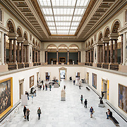 Looking down at the main hall at the Royal Museums of Fine Arts in Belgium (in French, Musées royaux des Beaux-Arts de Belgique), one of the most famous museums in Belgium. The complex consists of several museums, including Ancient Art Museum (XV - XVII century), the Modern Art Museum (XIX  XX century), the Wiertz Museum, the Meunier Museum and the Museé Magritte Museum.