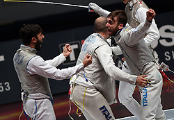 WUXI, July 27, 2018  Daniele Garozzo (R) of Italy celebrates with his teammates after winning the men's foil team final between Italy and the United States at the Fencing World Championships in Wuxi, east China's Jiangsu Province, July 27, 2018. Italy beat US 45-34 and claimed the title of the event. (Credit Image: © Han Yuqing/Xinhua via ZUMA Wire)