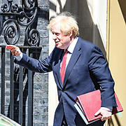 Britain's Prime Minister Boris Johnson leaves Downing Street to attend the weekly session of PMQs in Parliament in London as the country continues its lockdown to help stop the spread of coronavirus, Wednesday, May 20, 2020. (Photo/Vudi Xhymshiti)