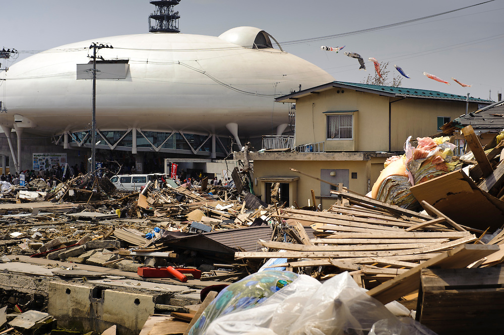 The Ishinomaki Mangattan museum amidst debris from the March 11 tsunami, Miyagi Prefecture, Japan, May 5, 2011. Almost two months after the devastating earthquake and tsunami the reconstruction has barely begun.