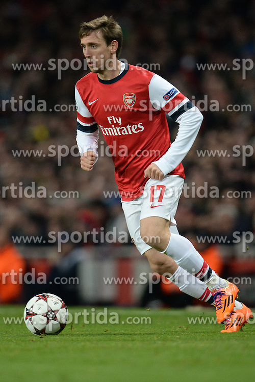 26.11.2013, The Emirates Stadium, London, ENG, UEFA CL, FC Arsenal vs Olympique Marseille, Gruppe F, im Bild Arsenal's Nacho Monreal // Arsenal's Nacho Monreal during UEFA Champions League group F match between FC Arsenal and Olympique Marseille at the The Emirates Stadium in London, Great Britain on 2013/11/26. EXPA Pictures © 2013, PhotoCredit: EXPA/ Mitchell Gunn<br /> <br /> *****ATTENTION - OUT of GBR*****