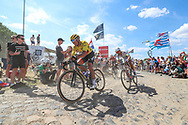 Greg Van Avermaet (BEL - BMC) yellow jersey on the cobbles of sector 4 during the 105th Tour de France 2018, Stage 9, Arras Citadelle - Roubaix (156,5km) on July 15th, 2018 - Photo George Deswijzen / Proshots / ProSportsImages / DPPI