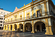 The Metropolitan Museum of Monterrey or Museo Metropolitano De Monterrey in the former City Hall in Monterrey, Nuevo Leon, Mexico. The building was constructed in 1653 and originally the site of Las Casas Reales, the Court of Justice and the Municipal Presidency. In 1989 it was converted into a Museum of the History of Nuevo León, and in 1995 it was remodeled and inaugurated as a Metropolitan Museum.