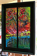 """'Ashland in Autumn' . 25"""" x 36"""" . Acrylic and Inks on two panels, mounted within custom frame . 2016"""