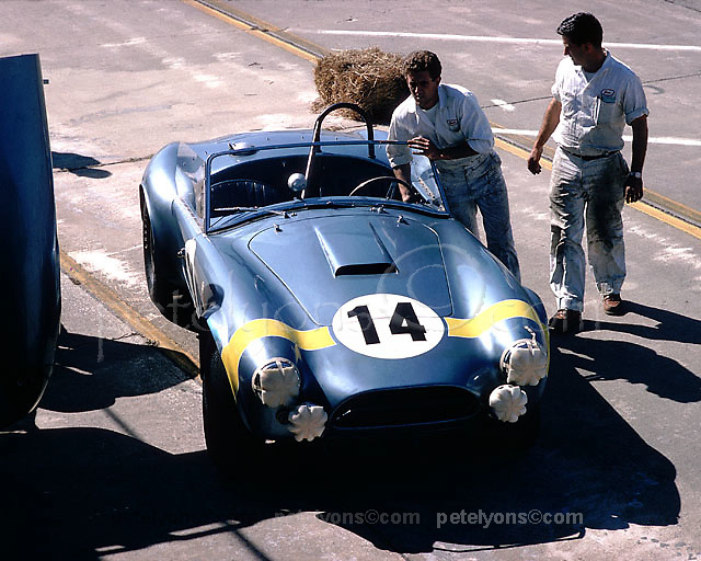 Cobra in pits at 1965 Sebring 12-hour race