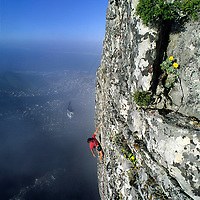 ROCK CLIMBING, Alex Lowe (MR) climbs on Table Mountain, above Cape Town, South Africa.