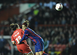 Bristol Academy Womens' Laura Del Rio Garcia takes a shot at goal with a header - Photo mandatory by-line: Dougie Allward/JMP - Mobile: 07966 386802 - 13/11/2014 - SPORT - Football - Bristol - Ashton Gate - Bristol Academy Womens FC v FC Barcelona - Women's Champions League