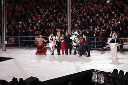 February 25, 2018 - Pyeongchang, KOREA - Lindsey Vonn and Pita Taufatofua join president of the international Olympic committee Thomas Bach onstage during the closing ceremony for the Pyeongchang 2018 Olympic Winter Games at Pyeongchang Olympic Stadium. (Credit Image: © David McIntyre via ZUMA Wire)