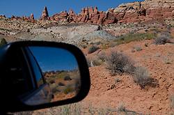Fiery Furnace and Rearview Mirror on Desert, Arches National Park, Utah, US