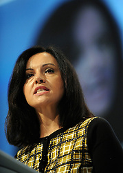 © Licensed to London News Pictures. 29/09/2011. LONDON, UK. Caroline Flint MP, Shadow Secretary of State for Communities and Local Government addresses The Labour Party Conference in Liverpool today (2829/09/11). Photo credit:  Stephen Simpson/LNP