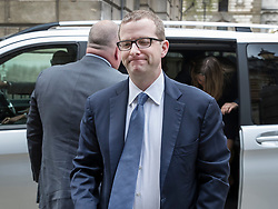© Licensed to London News Pictures. 26/04/2018. London, UK. Facebook Chief Technical Officer Mike Schroepfer arrives at Portcullis House to give evidence to the Digital, Culture, Media and Sport Committee which is examining fake news. Photo credit: Peter Macdiarmid/LNP