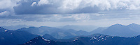 View across rugged peaks of the Mamores from summit of Ben Nevis, Lochaber, Scotland