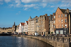 Evening summer sunshine on The Shore beside the  Water of Leith in Leith, Edinburgh, Scotland, UK