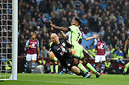 Raheem Sterling of Manchester city is denied by a fine save by Aston Villa goalkeeper Brad Guzan  late in game  Barclays Premier league match, Aston Villa v Manchester city at Villa Park in Birmingham, Midlands  on Sunday 8th November 2015.<br /> pic by  Andrew Orchard, Andrew Orchard sports photography.