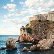 A view of St. Lawrence Fortress (Lovrijenac) in Dubrovnik, Croatia. Often refered to as Dubrovnik's Gibraltar, the fortress and it's 12m thick exterior walls stand 37m above sea level outside the city's western walls.<br />