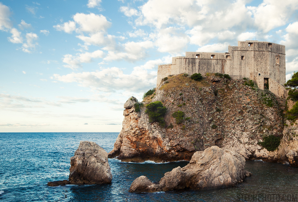 """A view of St. Lawrence Fortress (Lovrijenac) in Dubrovnik, Croatia. Often refered to as Dubrovnik's Gibraltar, the fortress and it's 12m thick exterior walls stand 37m above sea level outside the city's western walls.<br /> <br /> Dubrovnik serves as the official setting of """"King's Landing"""" from the popular TV show """"Game of Thrones""""."""
