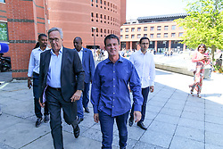 June 18, 2017 - Evry, France - Former French Socialist Prime Minister Manuel Valls (C), escorted by Evry Socialist mayor Francis Chouat (L) arrives at the Evry City Hall, south of Paris, to cast his vote during the second round of the legislative elections on June 18, 2017. (Credit Image: © Michel Stoupak/NurPhoto via ZUMA Press)