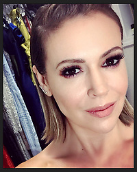 """Alyssa Milano releases a photo on Twitter with the following caption: """"""""Runway day 2! Hair by @LinhHair! Make-up by @scottpatricsays! #PRAS"""""""". Photo Credit: Twitter *** No USA Distribution *** For Editorial Use Only *** Not to be Published in Books or Photo Books ***  Please note: Fees charged by the agency are for the agency's services only, and do not, nor are they intended to, convey to the user any ownership of Copyright or License in the material. The agency does not claim any ownership including but not limited to Copyright or License in the attached material. By publishing this material you expressly agree to indemnify and to hold the agency and its directors, shareholders and employees harmless from any loss, claims, damages, demands, expenses (including legal fees), or any causes of action or allegation against the agency arising out of or connected in any way with publication of the material."""