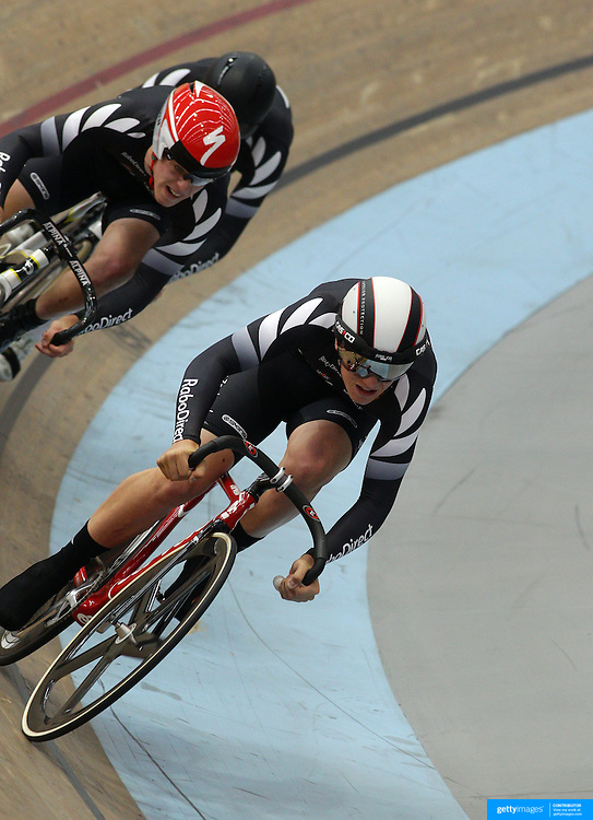 Harrison Perriam, (front) Daniel Ellison and Tom Beadle, New Zealand, in action in the Men's Team Sprint at the 2012 Oceania WHK Track Cycling Championships, Invercargill, New Zealand. 21st November 2011. Photo Tim Clayton