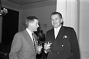 22/10/1963<br /> 10/22/1963<br /> 22 October 1963<br /> Henry Spring and Co. Ltd. reception at the Shelbourne Hotel, Dublin. At the reception to demonstrate Ultra-sonic Cleaning for the Watchmaking and Jewellery Trade were (l-r): Mr. J.H. Marshall, Director, Henry Spring and Co. Ltd. and Mr. W. Kay, Central Watch and Clock Company.