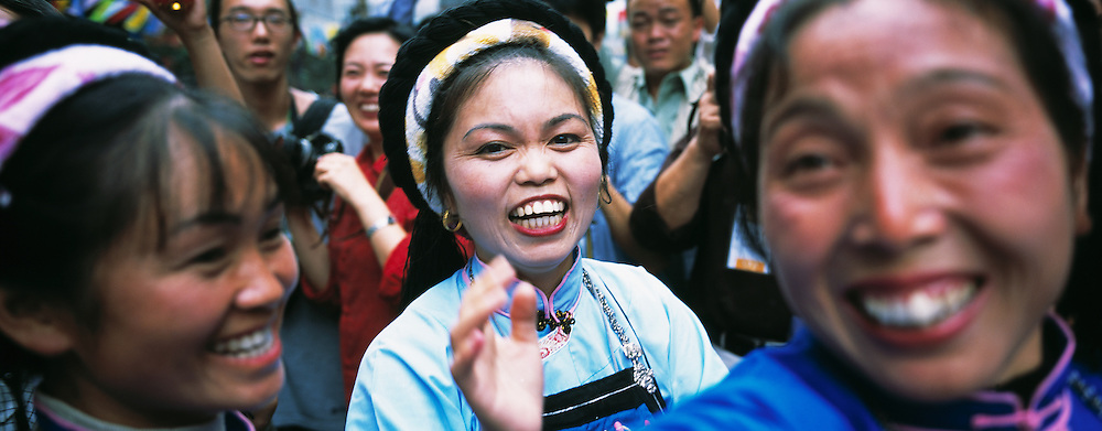 Buyi Woman during Festival in Old Stone Street. Duyun, Guizhou Province, China.