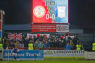 Ipswich fans celebrate a corner during the The FA Cup 3rd round match between Accrington Stanley and Ipswich Town at the Fraser Eagle Stadium, Accrington, England on 5 January 2019.