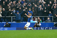 Dominic Calvert-Lewin of Everton celebrates after scoring his teams 1st goal. Premier league match, Everton v Hull city at Goodison Park in Liverpool, Merseyside on Saturday 18th March 2017.<br /> pic by Chris Stading, Andrew Orchard sports photography.