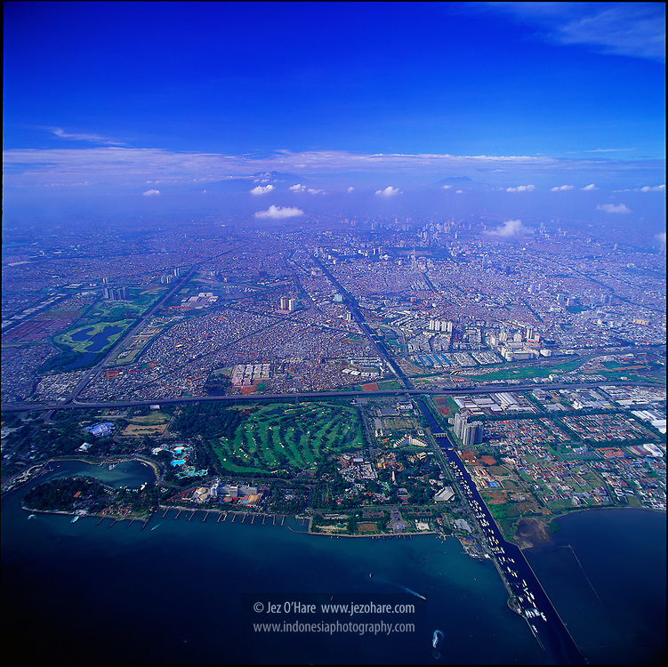 Jakarta with Ancol Dreamland in foreground, Java, Indonesia.