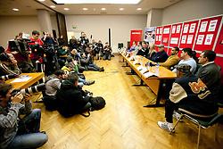 Photographers at press conference of boxers IBF World Champion Dejan Zavec - Jan Zaveck (SLO) and Paul Delgado (USA) before their WTC IBF Match, on February 14, 2011 in Ljubljana, Slovenia. (Photo By Vid Ponikvar / Sportida.com)