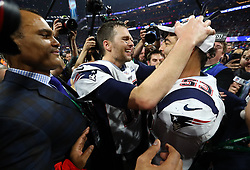 New England Patriots quarterback Tom Brady and linebacker Kyle Van Noy (53) celebrate a 13-3 win against the Los Angeles Rams in Super Bowl LIII at Mercedes-Benz Stadium in Atlanta on Sunday, February 3, 2019. Photo by Curtis Compton/Atlanta Journal-Constitution/TNS/ABACAPRESS.COM