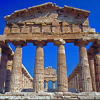 Temple of Athena in the ancient Greek town of Poseidana now called Paestum in Campania Italy