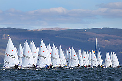 Image Credit Marc Turner..Laser Radial Gold Fleet Start..Day 3 RYA Youth National Championships 2013 held at Largs Sailing Club, Scotland from the 31st March - 5th April. .Sailors Launching..For Further Information Contact..Matt Carter.Racing Communications Officer.Royal Yachting Association.M: 07769 505203.E: matt.carter@rya.org.uk ..Image Credit Marc Turner / RYA.