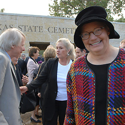 Austin, TX: September 18, 2006. Molly Ivins leaves the Texas State Cemetery after paying her respects to former Texas Governor Ann Richards. ©Bob Daemmrich/