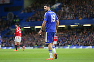 Chelsea's Diego Costa looks at the linesman during the Barclays Premier League match between Chelsea and Manchester United at Stamford Bridge, London, England on 7 February 2016. Photo by Phil Duncan.