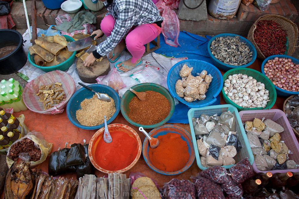 Luang Prabang, Laos. Morning food market.