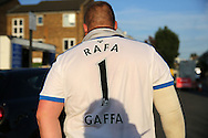"""a Newcastle United fan walking towards Loftus Road with """"RAFA 1 GAFFA"""" printed on the back shirt.EFL Skybet football league championship match, Queens Park Rangers v Newcastle Utd at Loftus Road Stadium in London on Tuesday 13th September 2016.<br /> pic by John Patrick Fletcher, Andrew Orchard sports photography."""