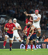 Twickenham, England. James HASKELL going  for the High ball during the  QBE International. England vs France [World cup warm up match]  {DOW  {DATE}  [Mandatory Credit. Peter SPURRIER/Intersport Images.