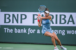 March 7, 2019 - Indian Wells, CA, U.S. - INDIAN WELLS, CA - MARCH 07: Ajla Tomljanovic (AUS) hits a backhand during the BNP Paribas Open on March 7, 2019 at Indian Wells Tennis Garden in Indian Wells, CA. (Photo by George Walker/Icon Sportswire) (Credit Image: © George Walker/Icon SMI via ZUMA Press)
