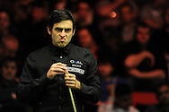 Ronnie O'Sullivan during his match against Ricky Walden.Bet Victor Welsh open snooker at the Newport centre in Newport, South Wales on Thursday 27th Feb 2014.<br /> pic by Andrew Orchard, Andrew Orchard sports photography.