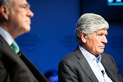 """HANDOUT - Angel Gurría, Secretary-General, Organisation for Economic Co-operation and Development (OECD), Paris; Member of the Board of Trustees, World Economic Forum, Maurice Lévy, Chairman of the Supervisory Board, Publicis Groupe, France speaking during the Session """"Europe between Vision and Dilemma"""" at the Annual Meeting 2018 of the World Economic Forum in Davos, January 25, 2018. Photo by Christian Clavadetscher/World Economic Forum via ABACAPRESS.COM"""