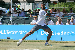 July 19, 2018 - Newport, RI, U.S. - NEWPORT, RI - JULY 19: Ram Ramanathan (IND) with the return to Vasek Pospisil (CAN) during their quarterfinal match in the Dell Technologies Hall of Fame Open at the International Tennis Hall of Fame in Newport, Rhode Island on July 19, 2018. Ramanathan won the match 7-5, 6-2 and advanced to the semifinals. (Photo by Andrew Snook/Icon Sportswire) (Credit Image: © Andrew Snook/Icon SMI via ZUMA Press)