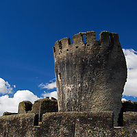Europe, United Kingdom, Wales, Caerphilly. Leaning tower of Caerphilly Castle in Wales.