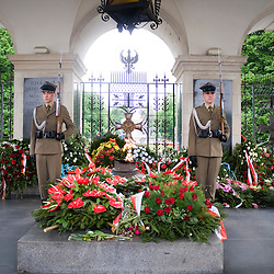 Warsaw, Poland - May, 2009 - Soldiers guard the Tomb of the Unknown Soldier which survived the bombing during World War II, and is the only surviving piece of the Saxon Palace..Photo © Susana Raab 2009